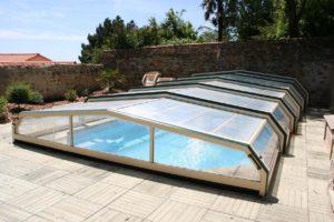abris de piscine blanc & vert verre clair